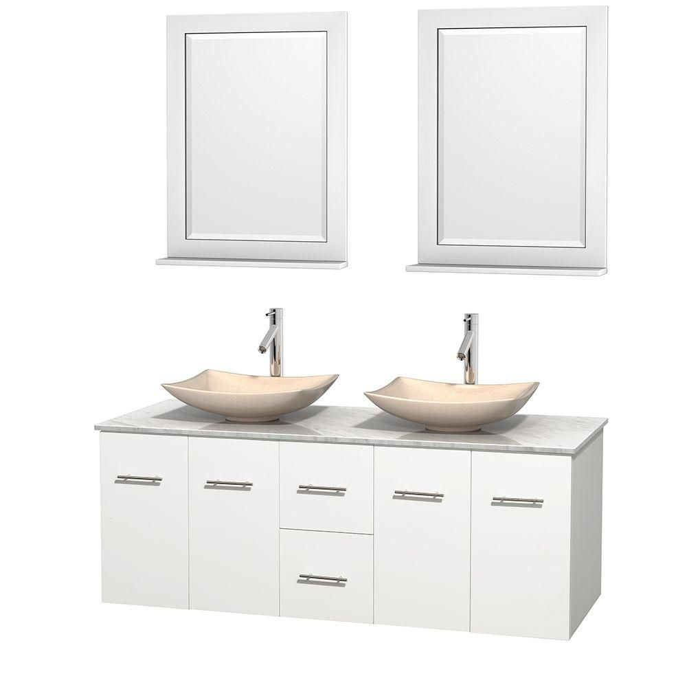 Centra 60-inch W Double Vanity in White with White Top with Ivory Basins and Mirrors