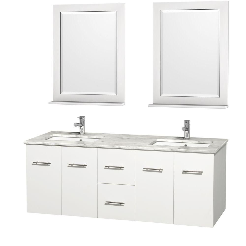 Centra 60-inch W Double Vanity in White with White Top with Square Basins and Mirrors