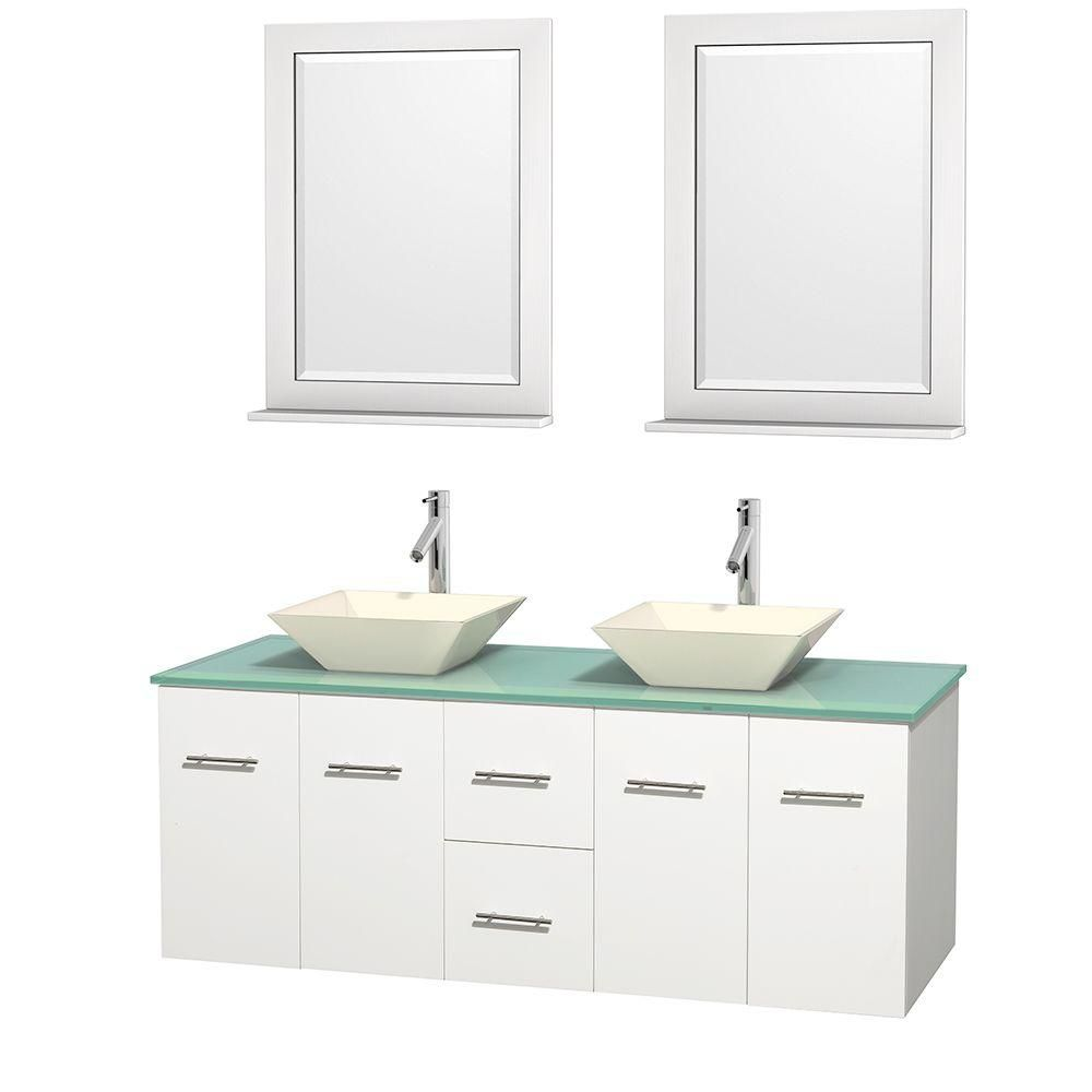Centra 60-inch W Double Vanity in White with Glass Top with Bone Basins and Mirrors
