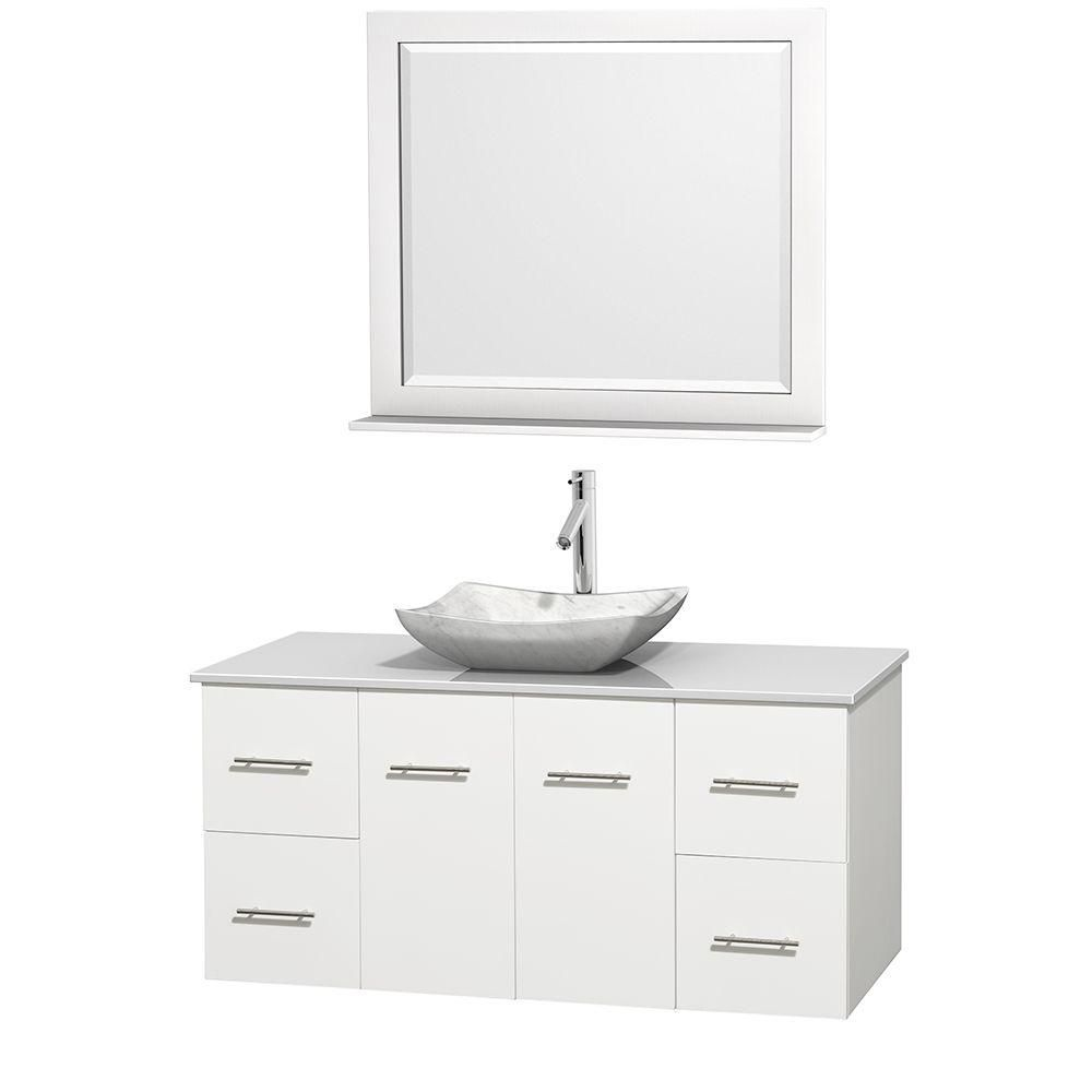 Centra 48-inch W Vanity in White with Solid Top with White Basin and Mirror