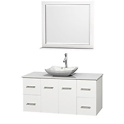 Wyndham Collection Centra 48-inch W 4-Drawer 2-Door Wall Mounted Vanity in White With Artificial Stone Top in White