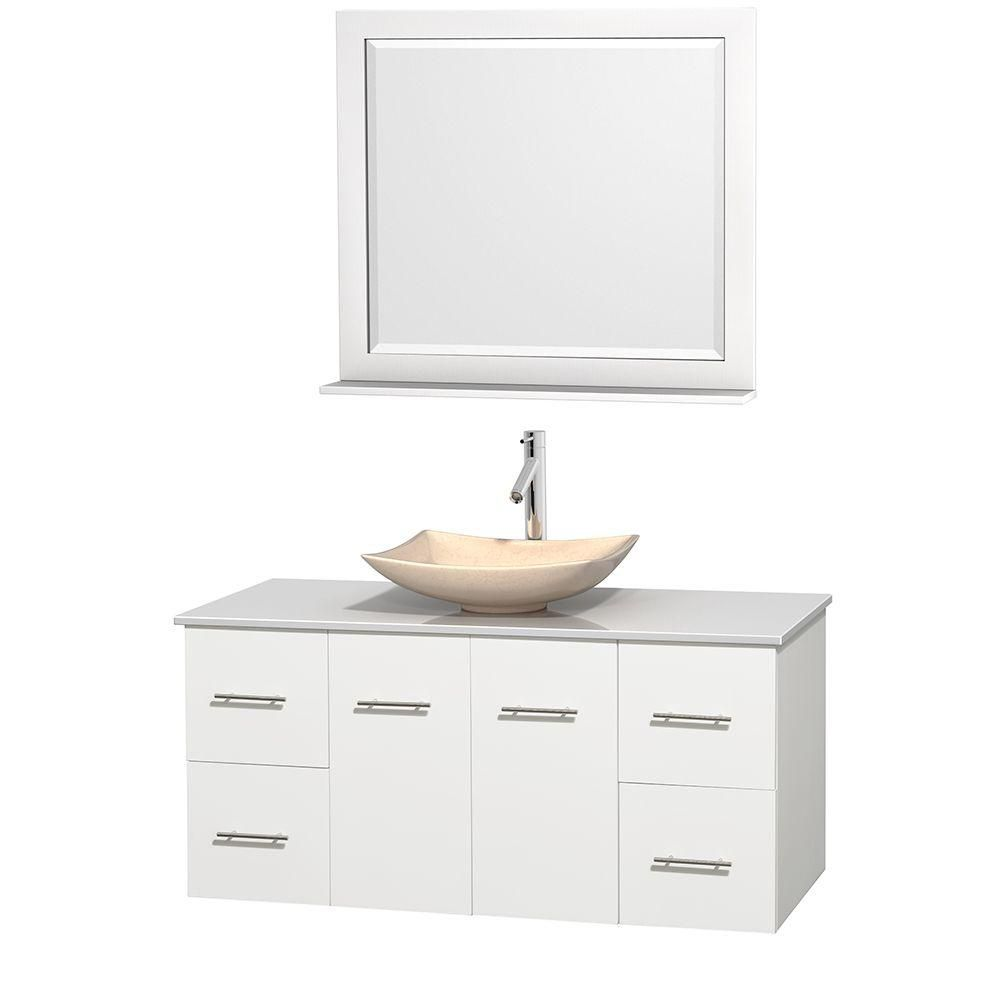 Centra 48-inch W Vanity in White with Solid Top with Ivory Basin and Mirror