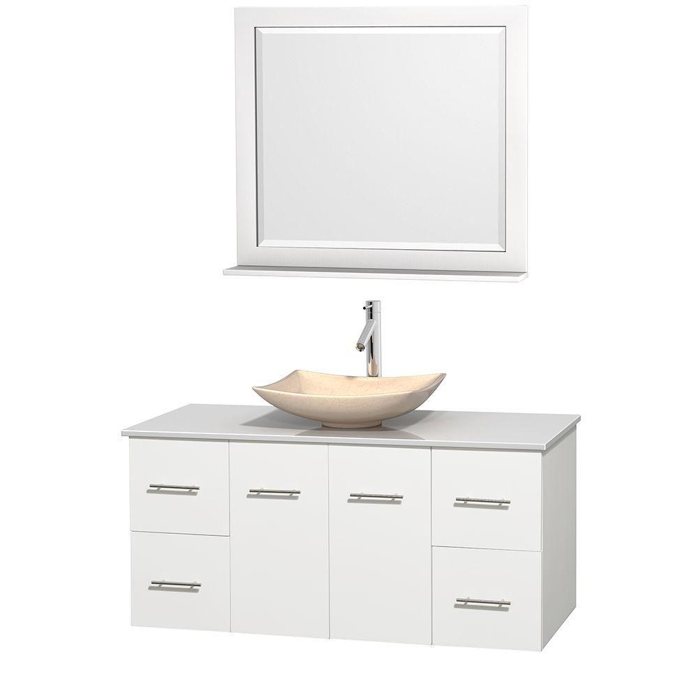 Meuble simple Centra 48 po. blanc, comptoir solide, lavabo ivoire, miroir 36 po.