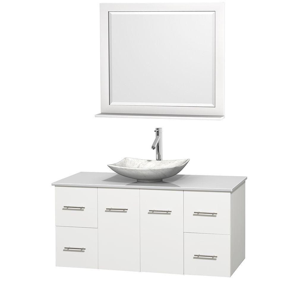 Meuble simple Centra 48 po. blanc, comptoir solide, lavabo blanc Carrare, miroir 36 po.