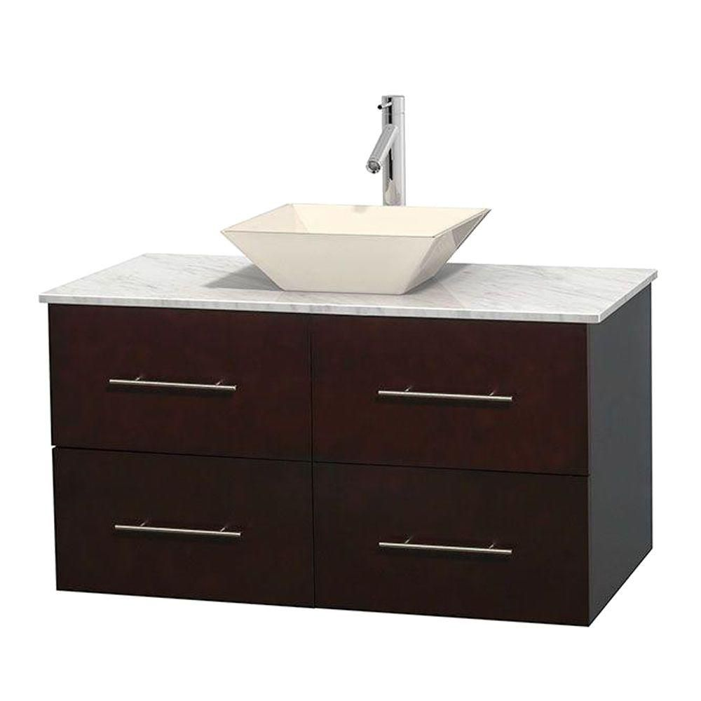 Centra 42-inch W Vanity in Espresso with White Top with Bone Basin