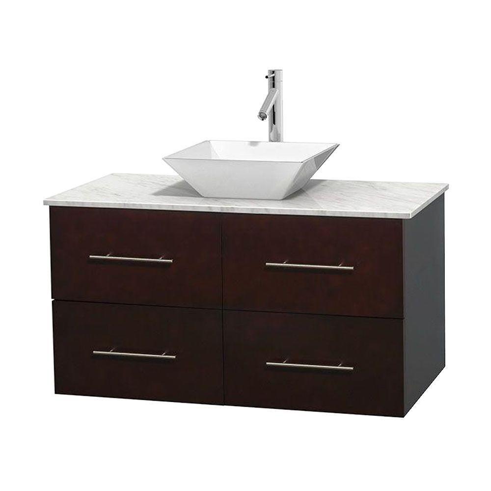 Meuble unique Centra 42 po. espresso, comptoir blanc Carrare, lavabo porcelaine blanche sans miro...