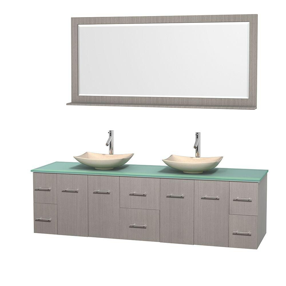 Wyndham Collection Centra 80-inch W 6-Drawer 4-Door Wall Mounted Vanity in Grey With Top in Green, Double Basins