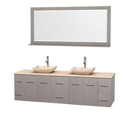 Wyndham Collection Centra 80-inch W 6-Drawer 4-Door Wall Mounted Vanity in Grey With Marble Top in Beige Tan, 2 Basins