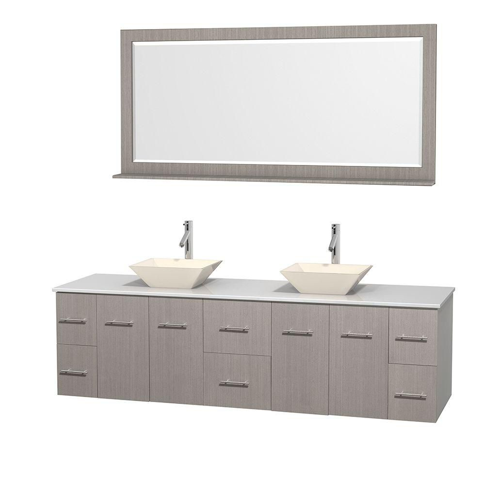 Centra 80-inch W Double Vanity in Grey Oak with Solid Top with Bone Basins and Mirror