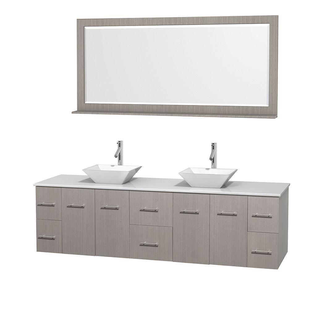 Meuble double Centra 80 po. chêne gris, comptoir solide, lavabos porcelaine blanche, miroir 70 po...