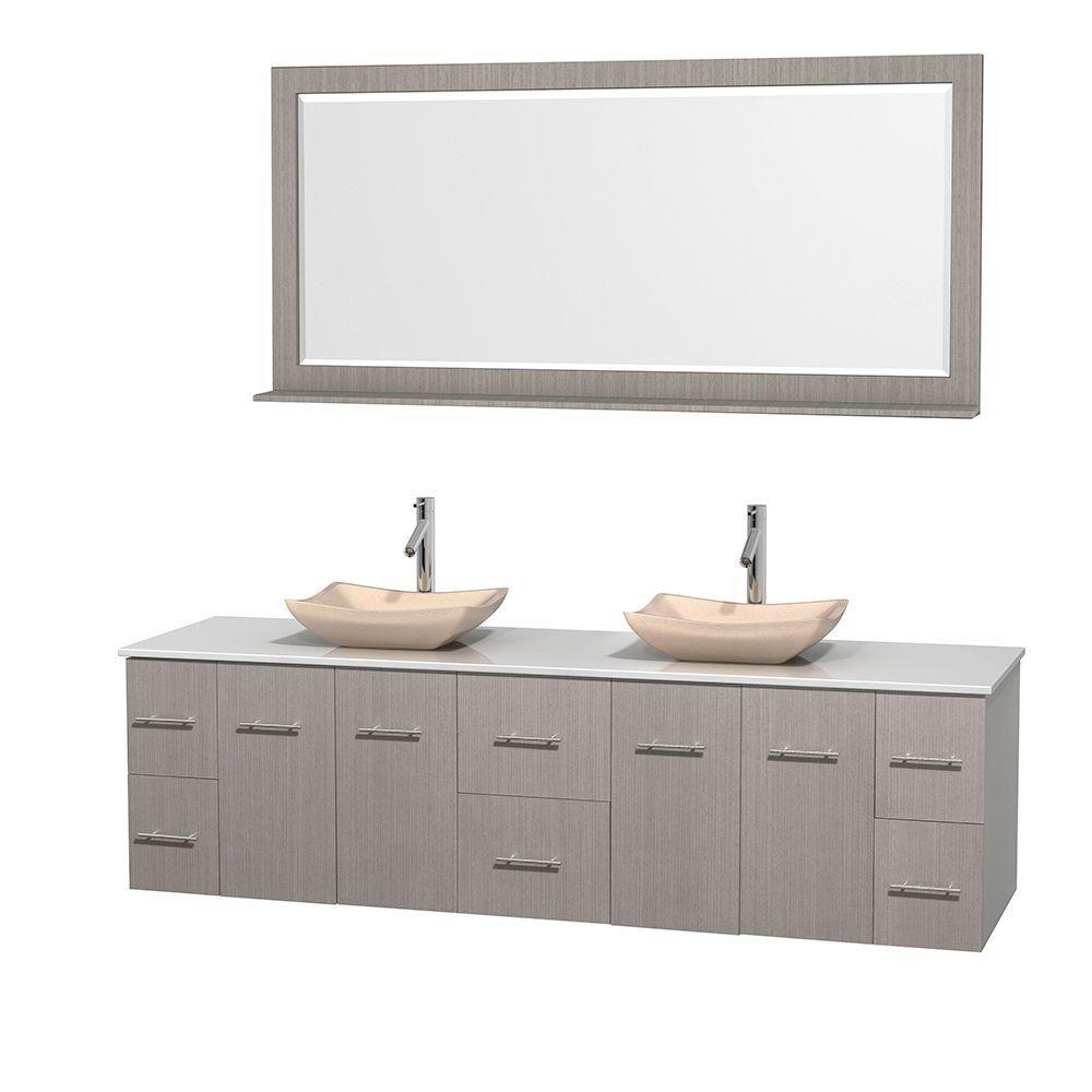 Meuble double Centra 80 po. chêne gris, comptoir solide, lavabos ivoire, miroir 70 po.