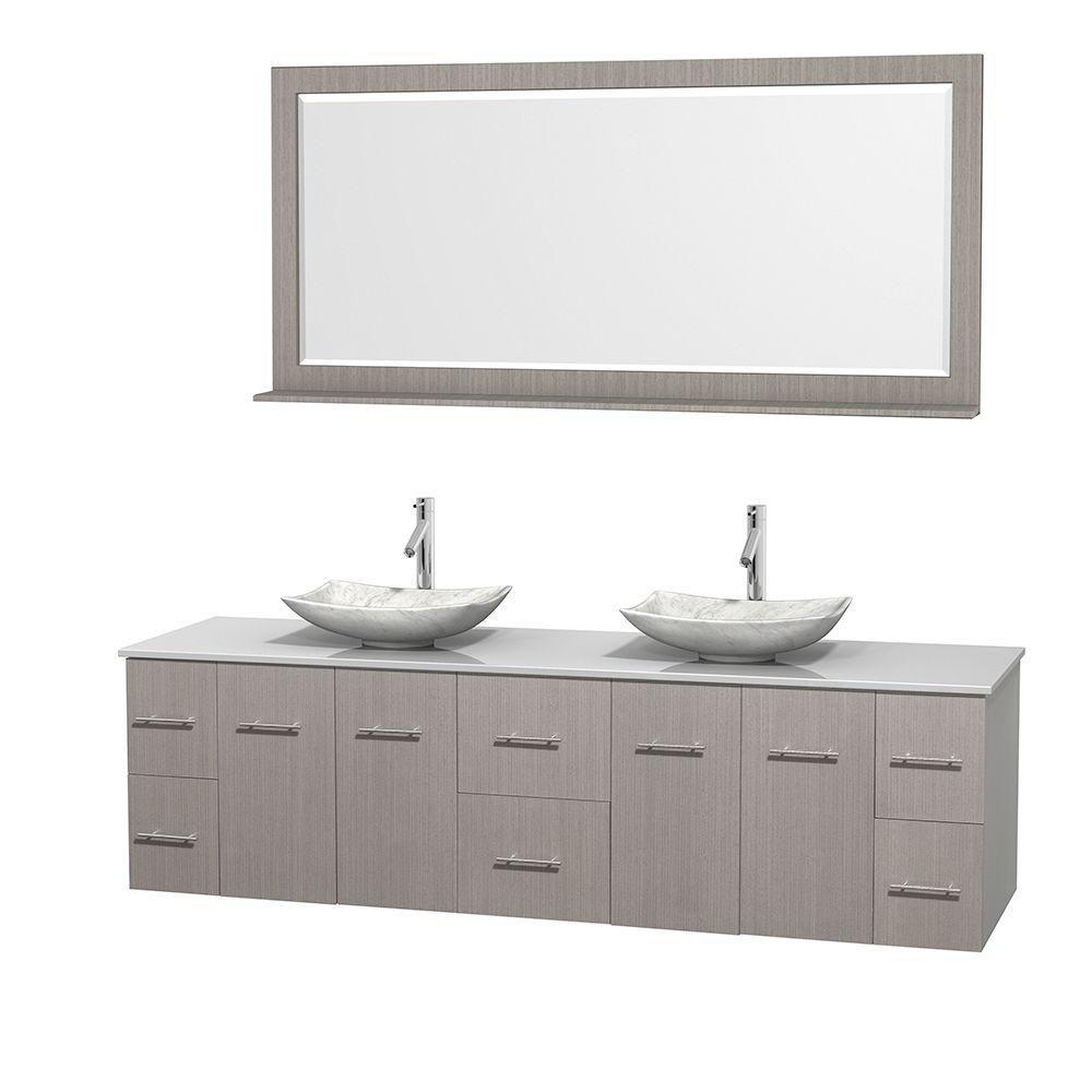 Meuble double Centra 80 po. chêne gris, comptoir solide, lavabos blanc Carrare, miroir 70 po.