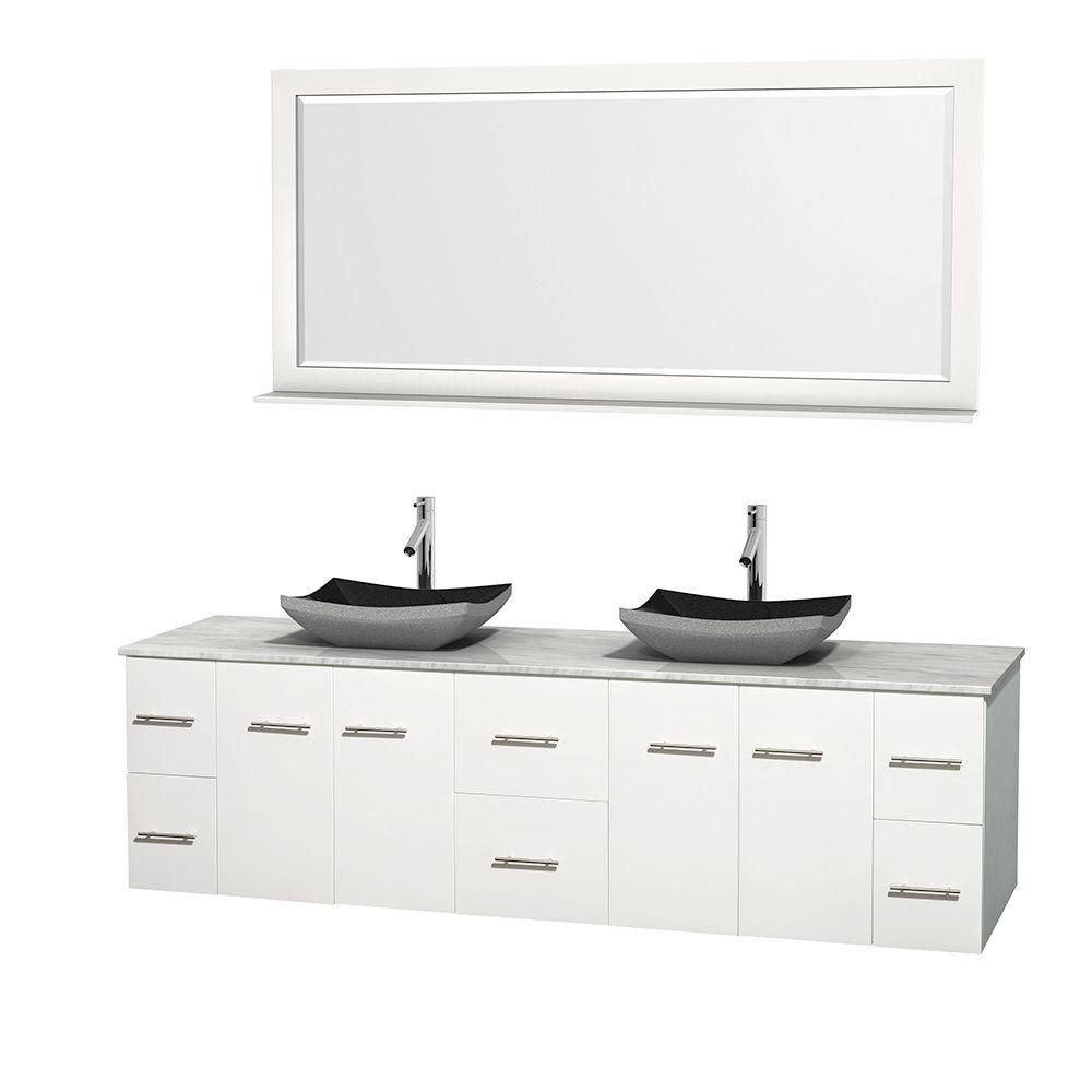 Centra 80-inch W Double Vanity in White with White Top with Black Basins and Mirror