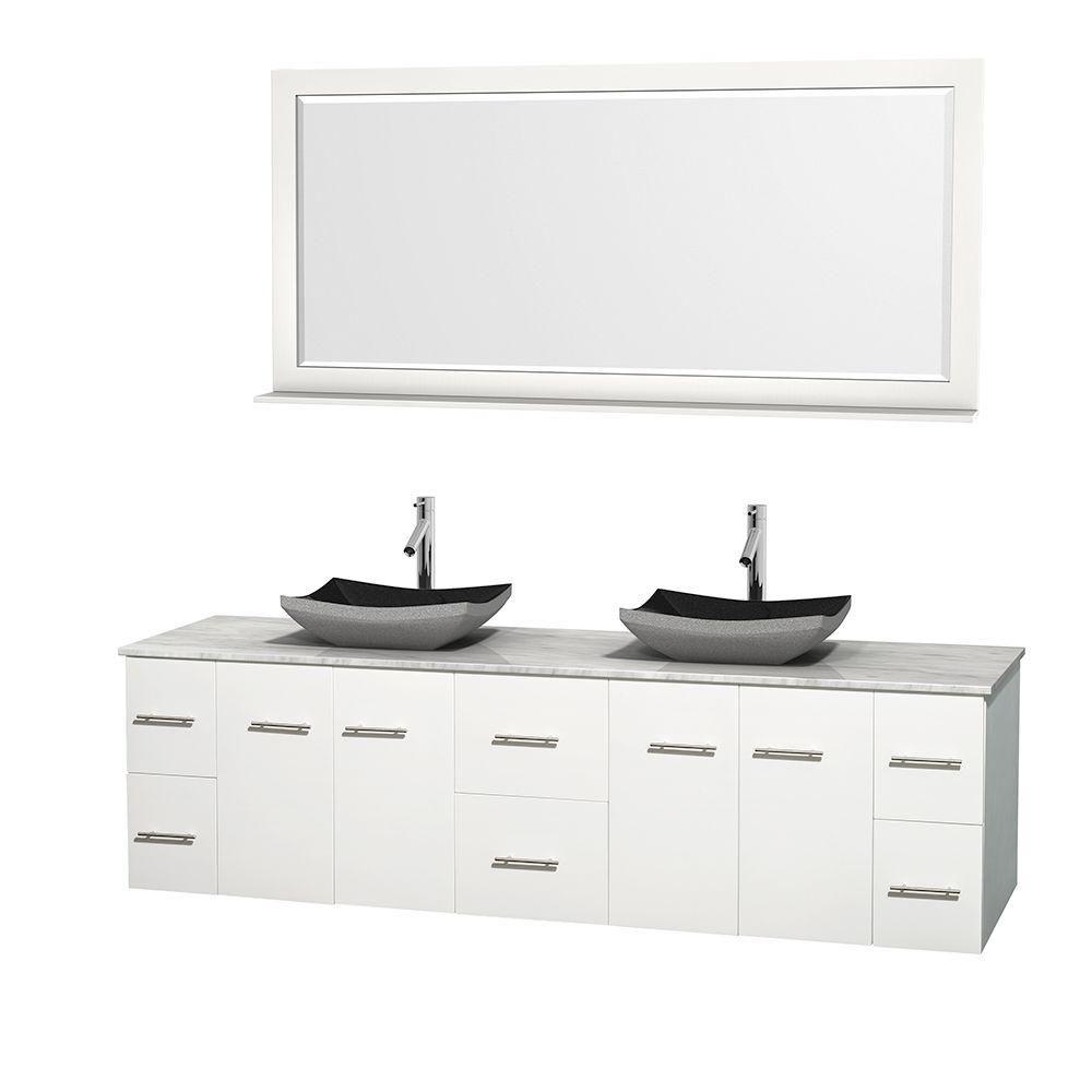 Meuble double Centra 80 po. blanc, comptoir blanc Carrare, lavabos granit noir, miroir 70 po.