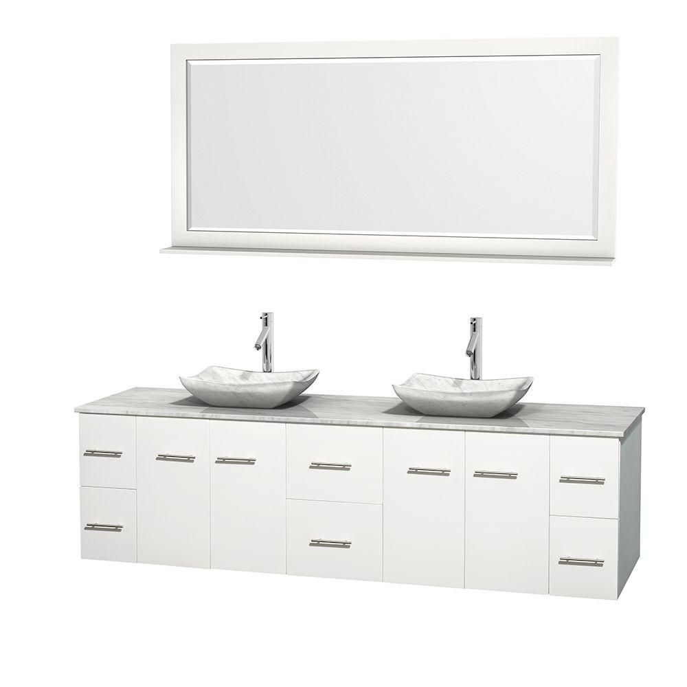 Centra 80-inch W Double Vanity in White with White Top with White Basins and Mirror
