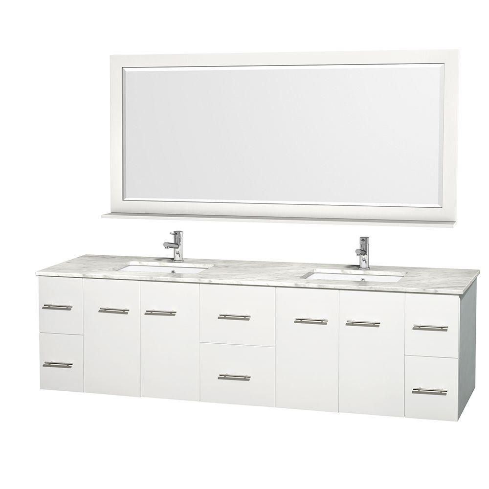 Meuble double Centra 80 po. blanc, comptoir blanc Carrare, lavabo carré, miroir 70 po.