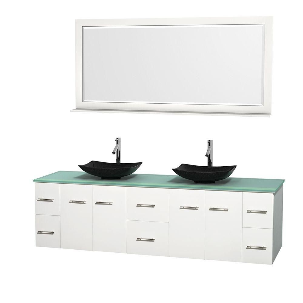 Wyndham Collection Centra 80-inch W 6-Drawer 4-Door Wall Mounted Vanity in White With Top in Green, Double Basins