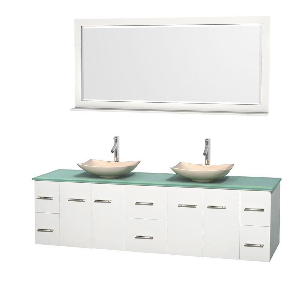 Centra 80-inch W 6-Drawer 4-Door Wall Mounted Vanity in White With Top in Green, Double Basins
