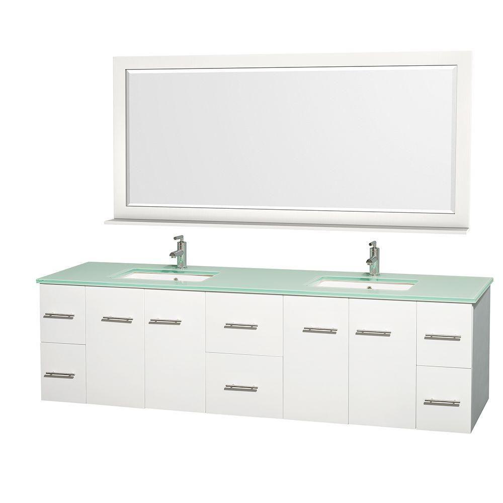 Meuble double Centra 80 po. blanc, comptoir verre vert, lavabo carré, miroir70 po.