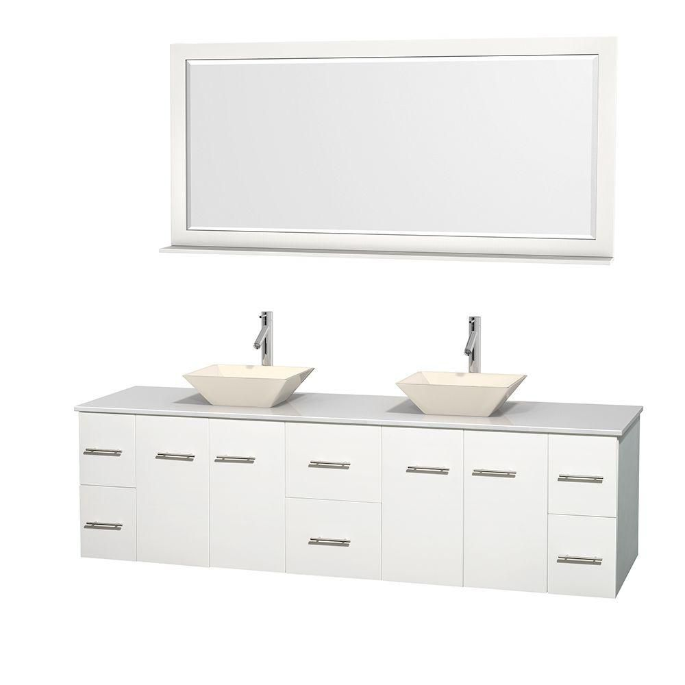 Wyndham Collection Centra 80-inch W 6-Drawer 4-Door Vanity in White With Artificial Stone Top in White, Double Basins