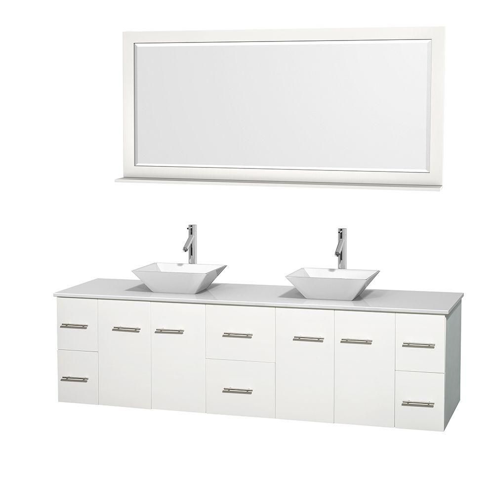 Centra 80-inch W Double Vanity in White with Solid Top with White Basins and Mirror