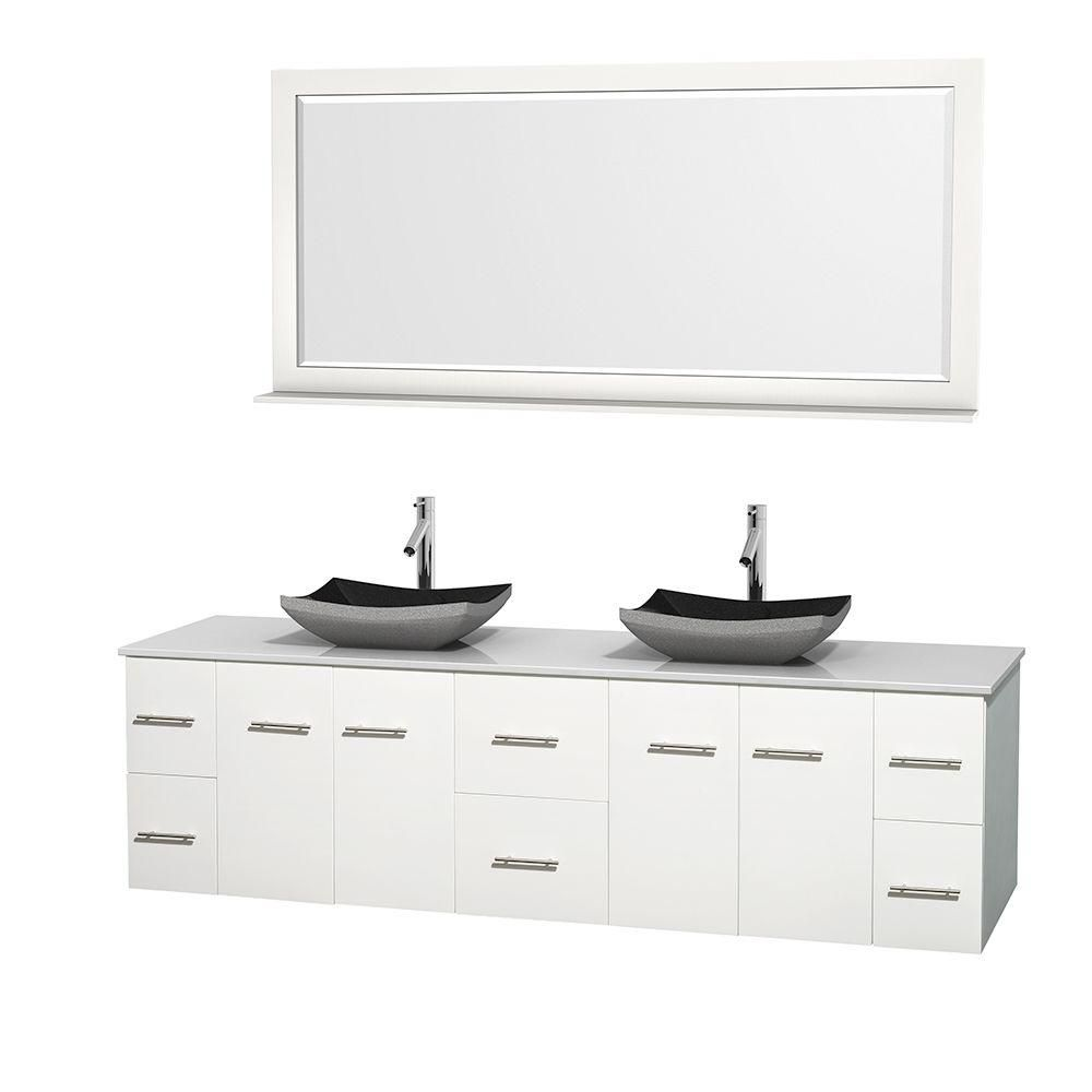 Centra 80-inch W Double Vanity in White with Solid Top with Black Basins and Mirror