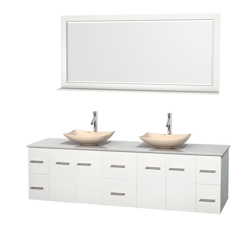 Meuble double Centra 80 po. blanc, comptoir solide, lavabos ivoire, miroir 70 po.