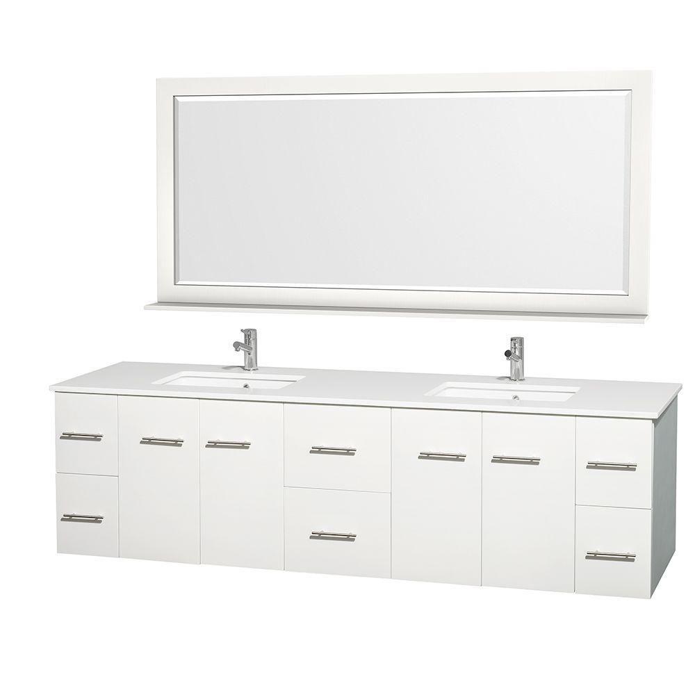 Meuble double Centra 80 po. blanc, comptoir solide, lavabos carrés, miroir70 po.