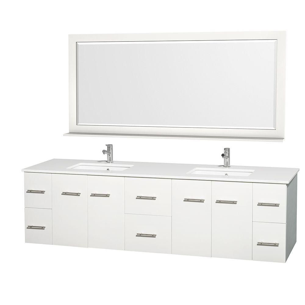 Centra 80-inch W 6-Drawer 4-Door Vanity in White With Artificial Stone Top in White, Double Basins