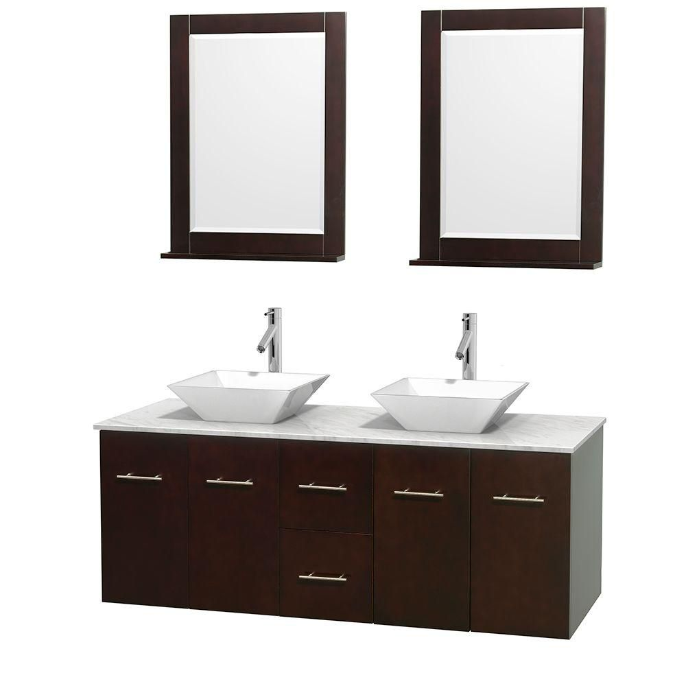 Centra 60-inch W Double Vanity in Espresso with White Top with White Basins and Mirrors