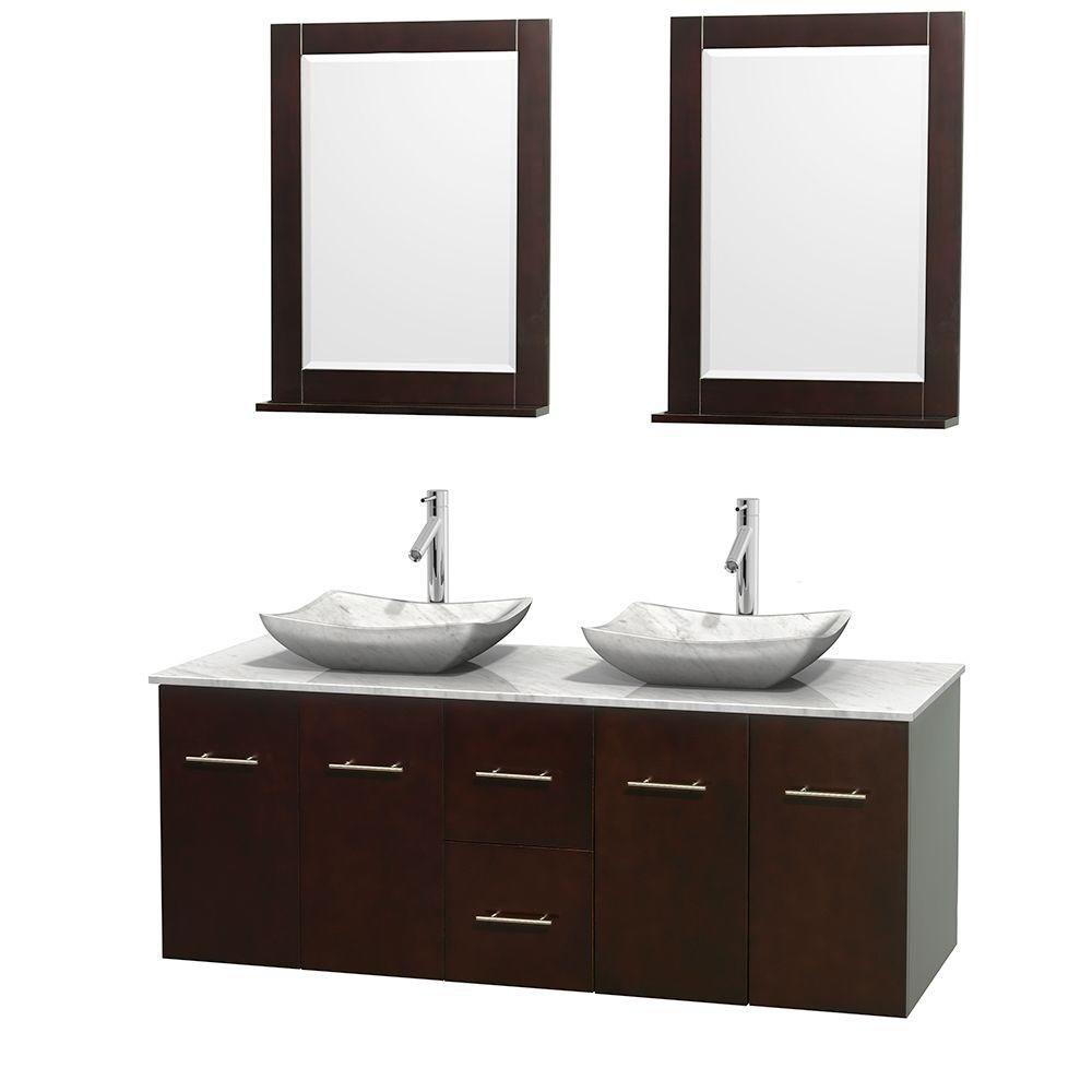 Meuble double Centra 60 po. espresso, comptoir blanc Carrare, lavabos blanc Carrare, miroirs 24 p...