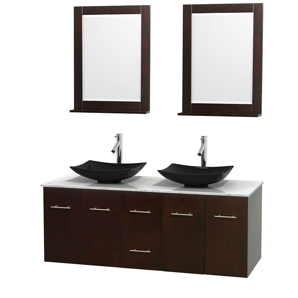 Centra 60-inch W Double Vanity in Espresso with White Top with Black Basins and Mirrors