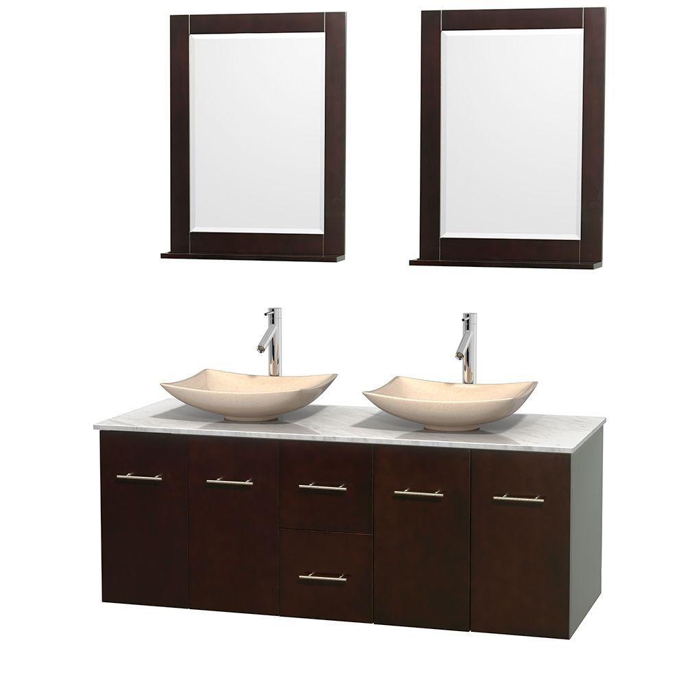 Meuble double Centra 60 po. espresso, comptoir blanc Carrare, lavabos ivoire, miroirs 24 po.