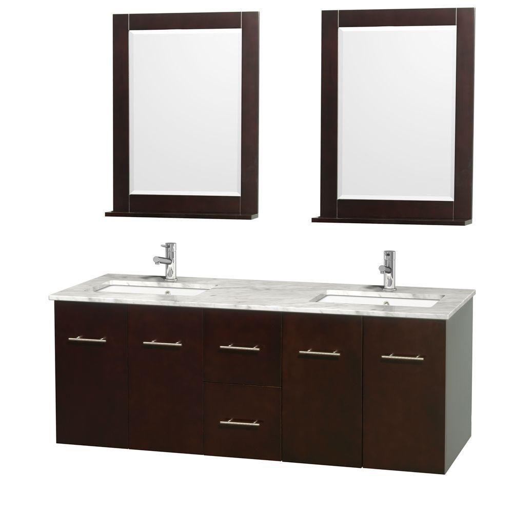 Wyndham Collection  Meuble double Centra 60 po. espresso, comptoir blanc Carrare, lavabo carré, miroir 24 po.
