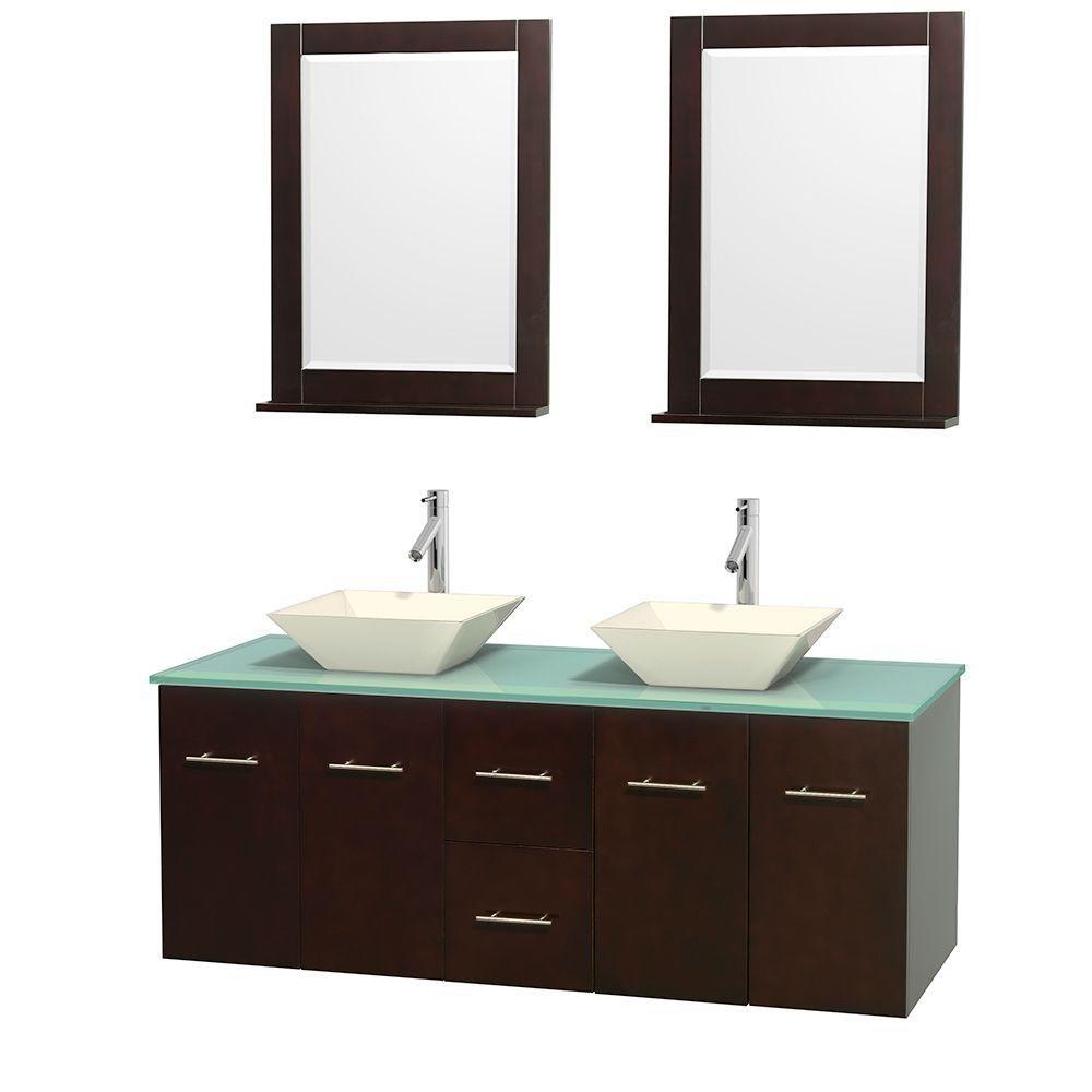 Meuble double Centra 60 po. espresso, comptoir verre vert, lavabos porcelaine bone, miroirs 24 po...