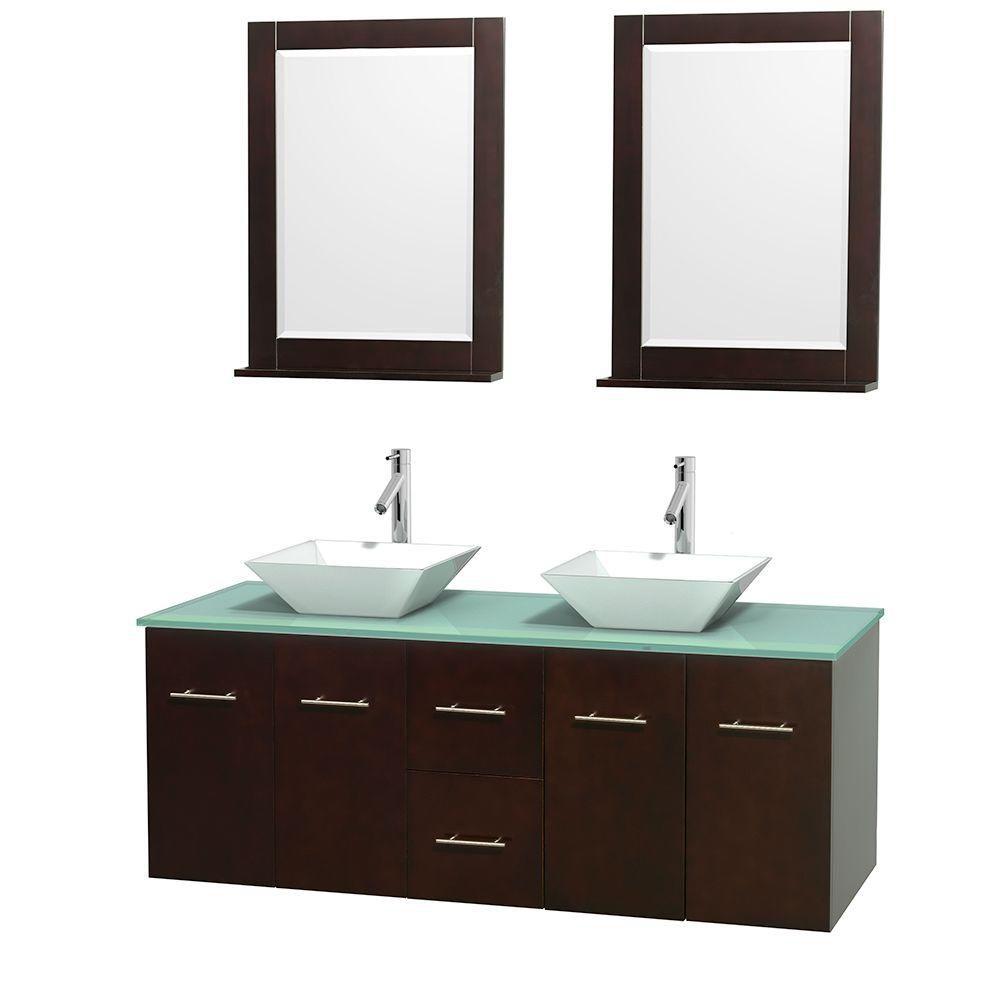 Meuble double Centra 60 po. espresso, comptoir verre vert, lavabos porcelaine blanche, miroirs 24...