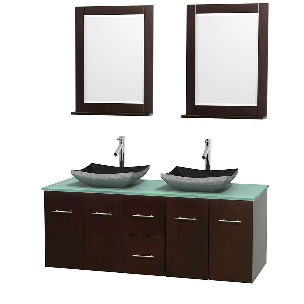 Meuble double Centra 60 po. espresso, comptoir verre vert, lavabos granit noir, miroirs 24 po.