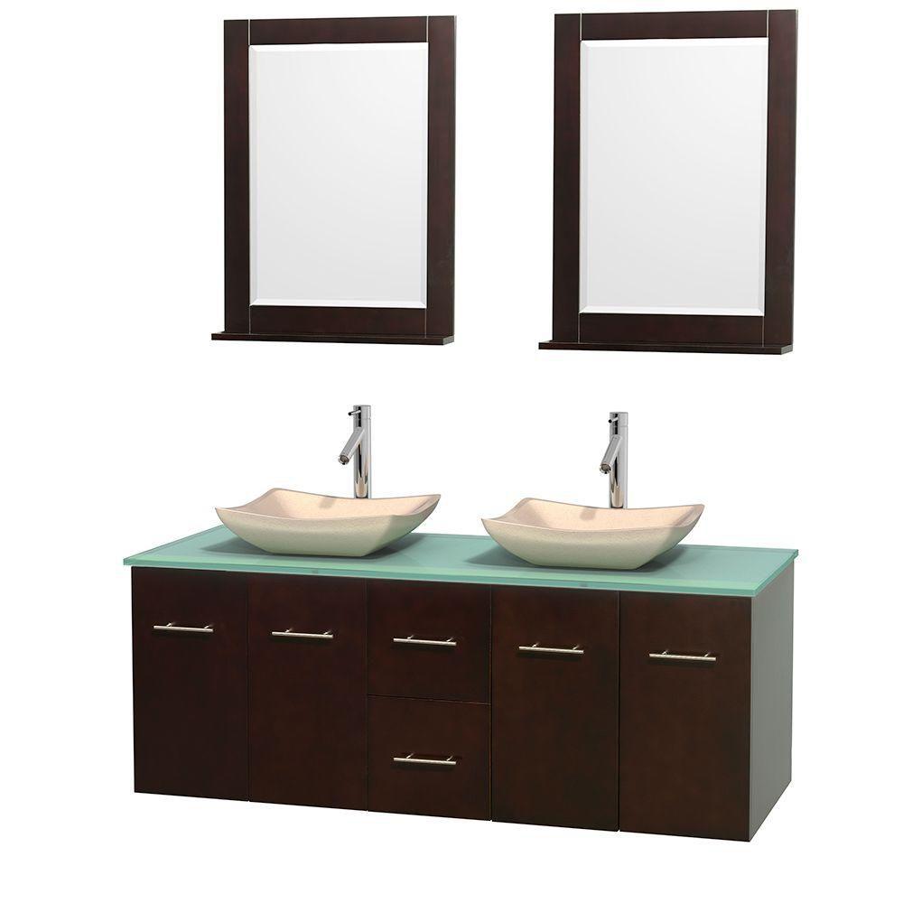 Meuble double Centra 60 po. espresso, comptoir verre vert, lavabos ivoire, miroirs 24 po.
