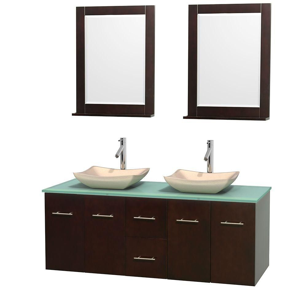 Centra 60-inch W Double Vanity in Espresso with Glass Top with Ivory Basins and Mirrors