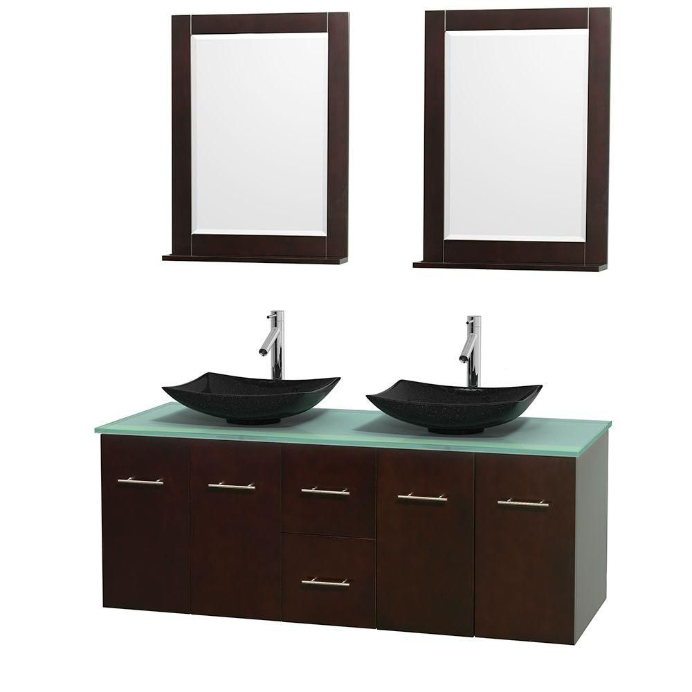 Centra 60-inch W Double Vanity in Espresso with Glass Top with Black Basins and Mirrors