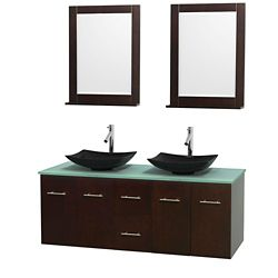 Wyndham Collection Centra 60-inch W 2-Drawer 4-Door Wall Mounted Vanity in Brown With Top in Green, Double Basins