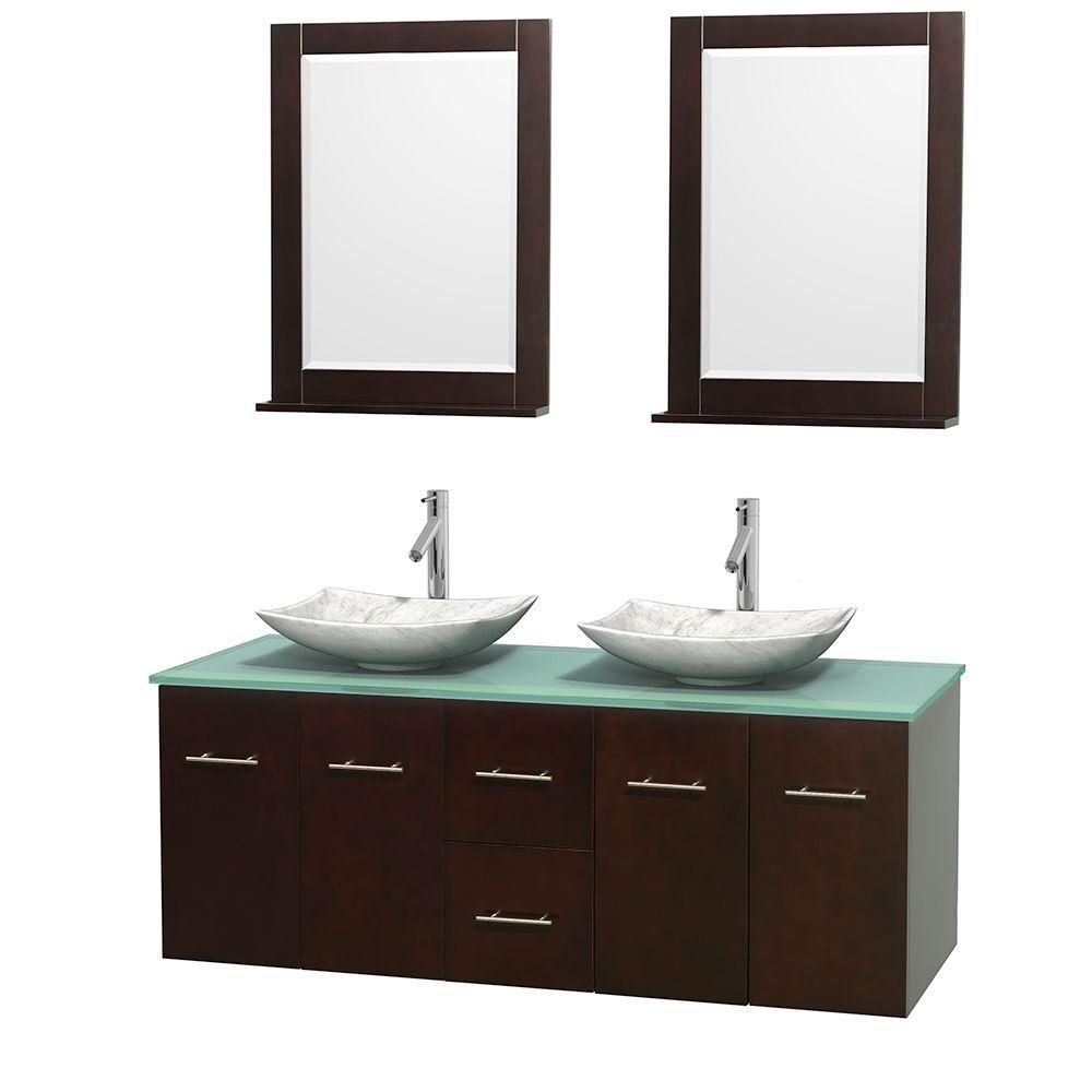 Centra 60-inch W Double Vanity in Espresso with Glass Top with Square Basins and Mirrors