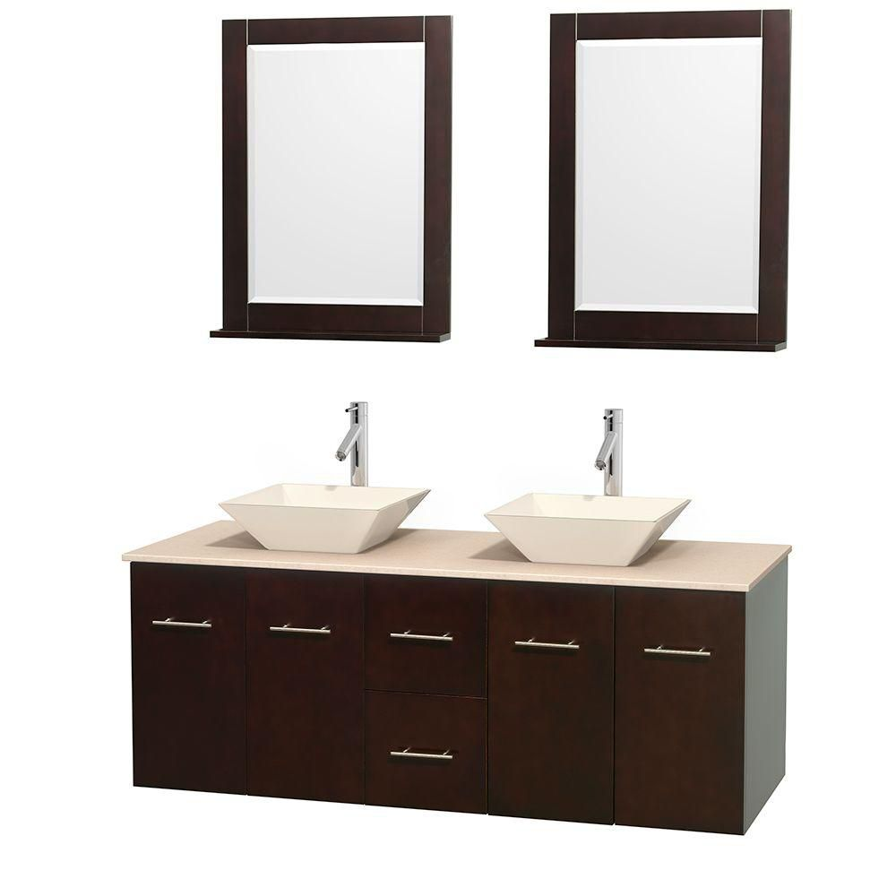 Centra 60-inch W Double Vanity in Espresso with Marble Top in Ivory with Bone Basins and Mirrors