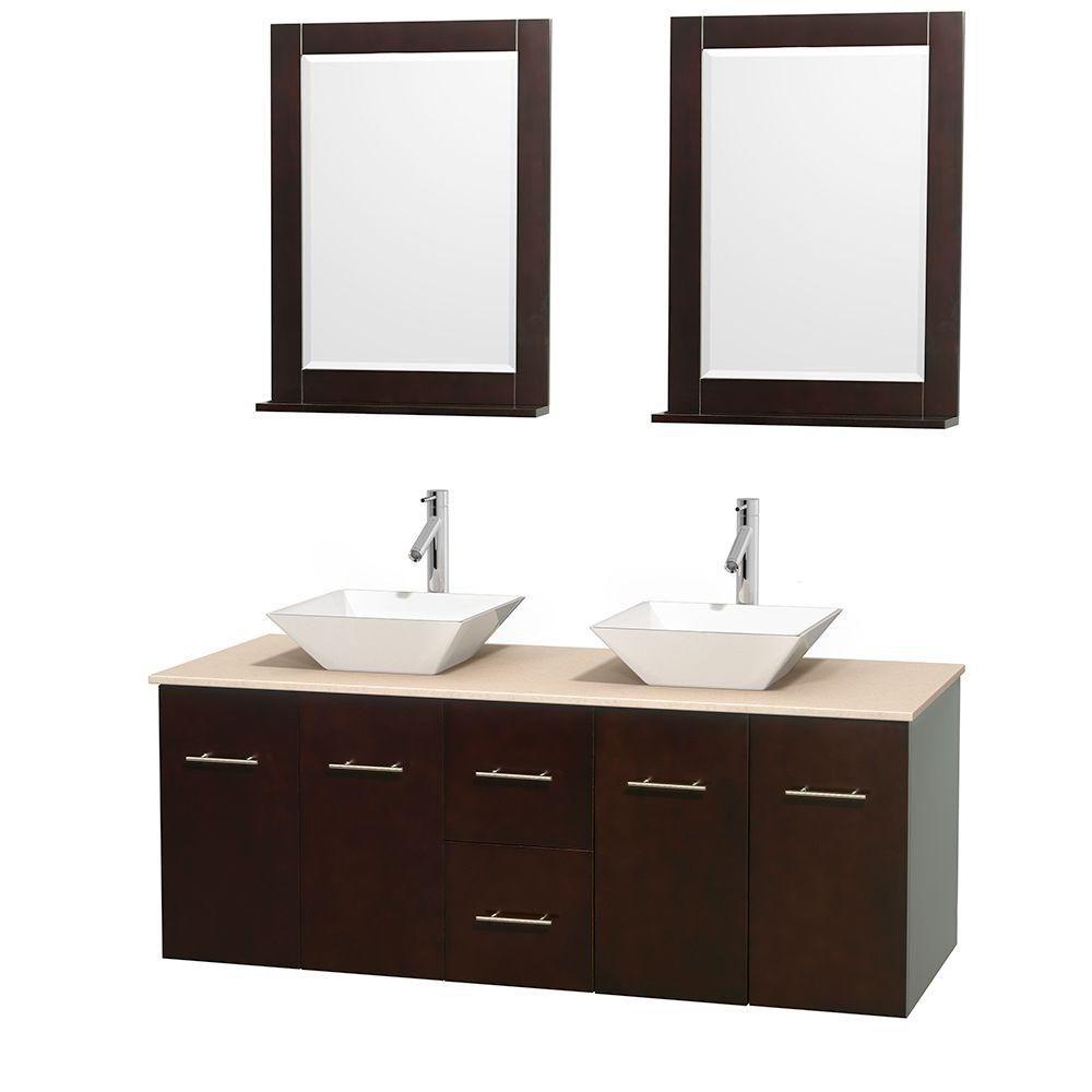 Meuble double Centra 60 po. espresso, comptoir marbre ivoire, lavabos porcelaine blanche, miroirs...