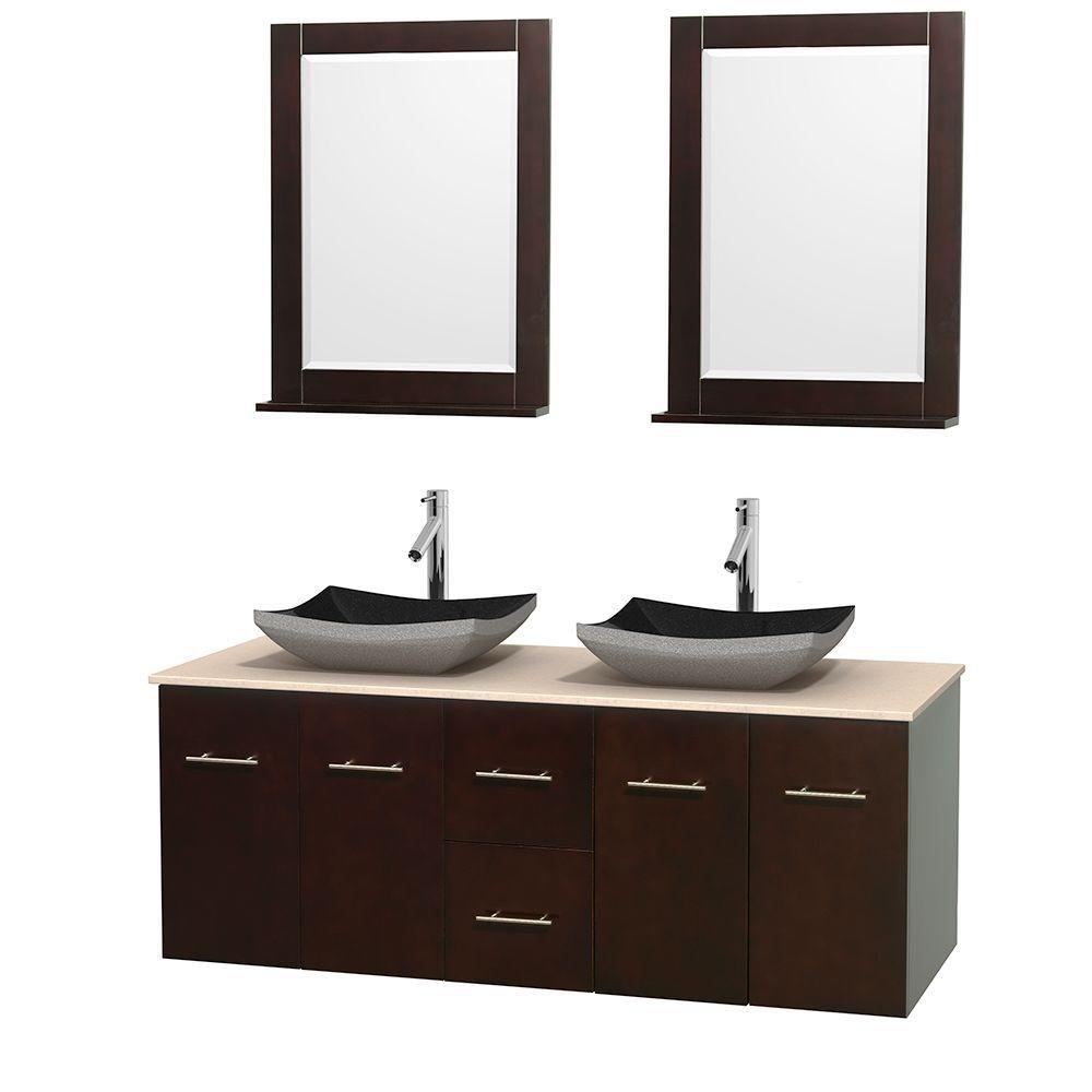 Meuble double Centra 60 po. espresso, comptoir marbre ivoire, lavabos granit noir, miroirs 24 po.