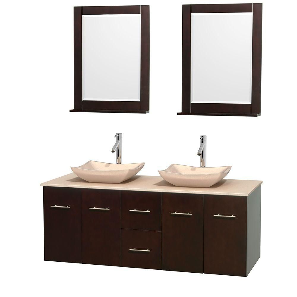 Centra 60-inch W Double Vanity in Espresso with Marble Top in Ivory with Ivory Basins and Mirrors