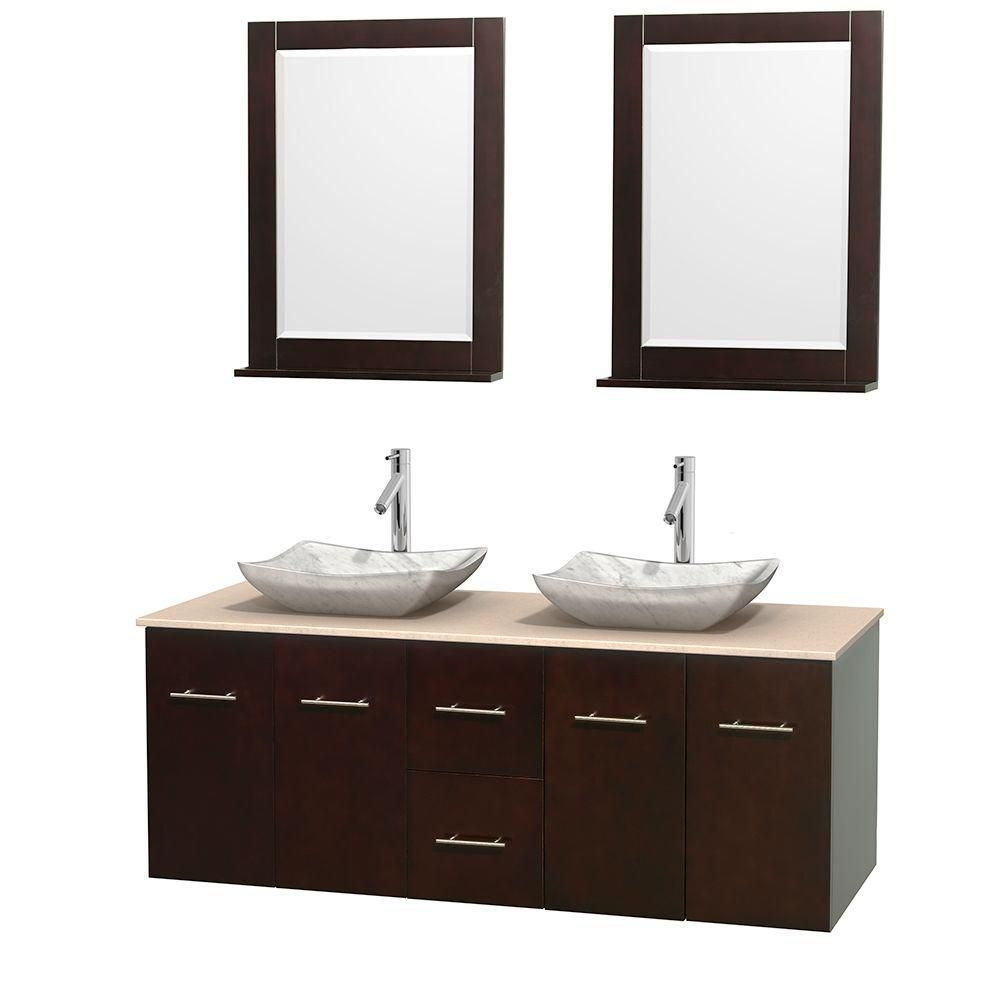 Centra 60-inch W Double Vanity in Espresso with Marble Top in Ivory with White Basins and Mirrors