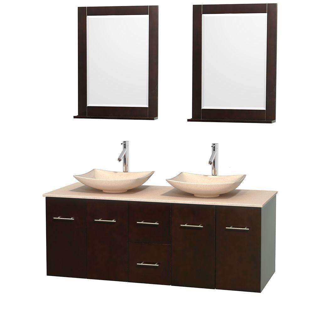 Meuble double Centra 60 po. espresso, comptoir marbre ivoire, lavabos ivoire, miroirs 24 po.