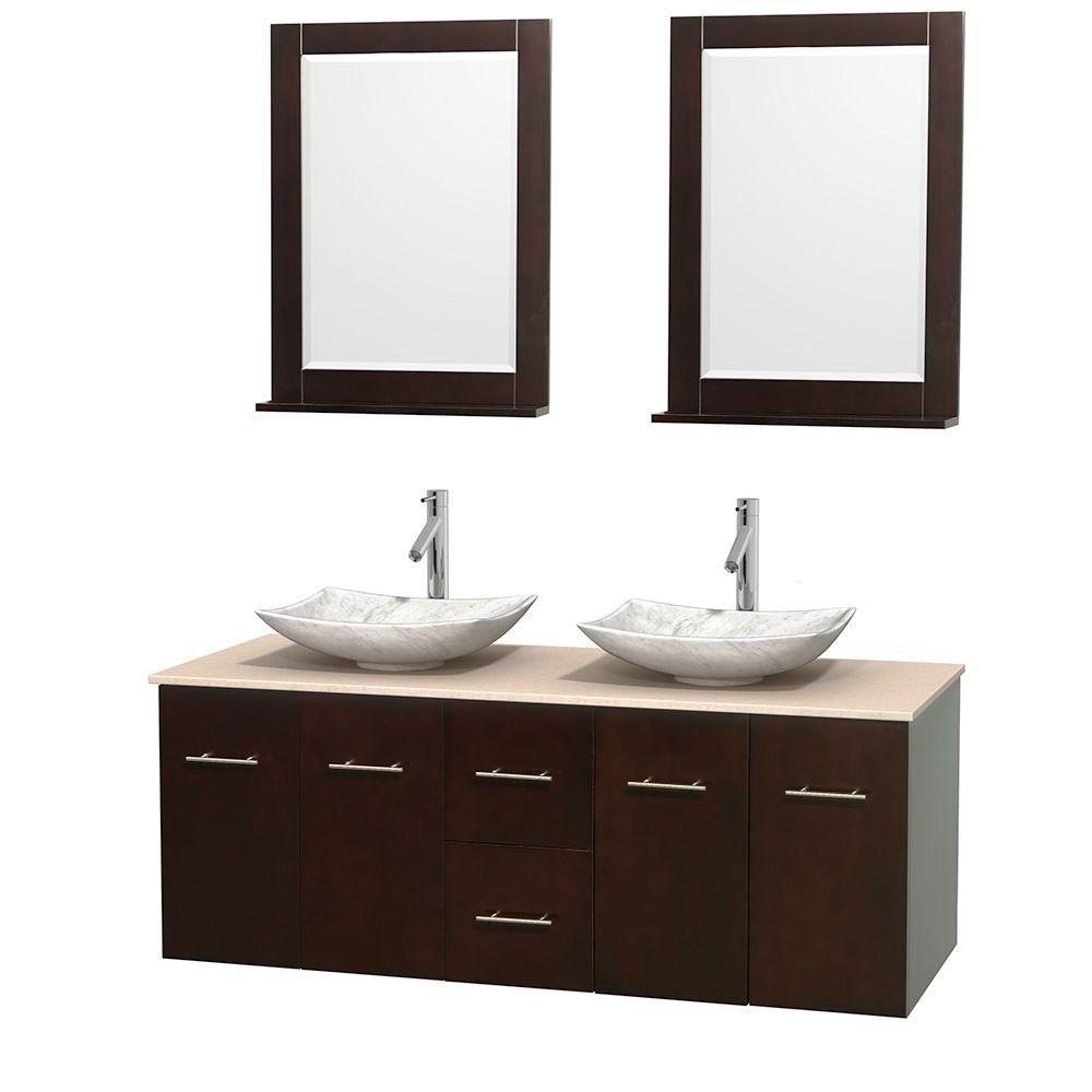Meuble double Centra 60 po. espresso, comptoir marbre ivoire, lavabos blanc Carrare, miroirs 24 p...
