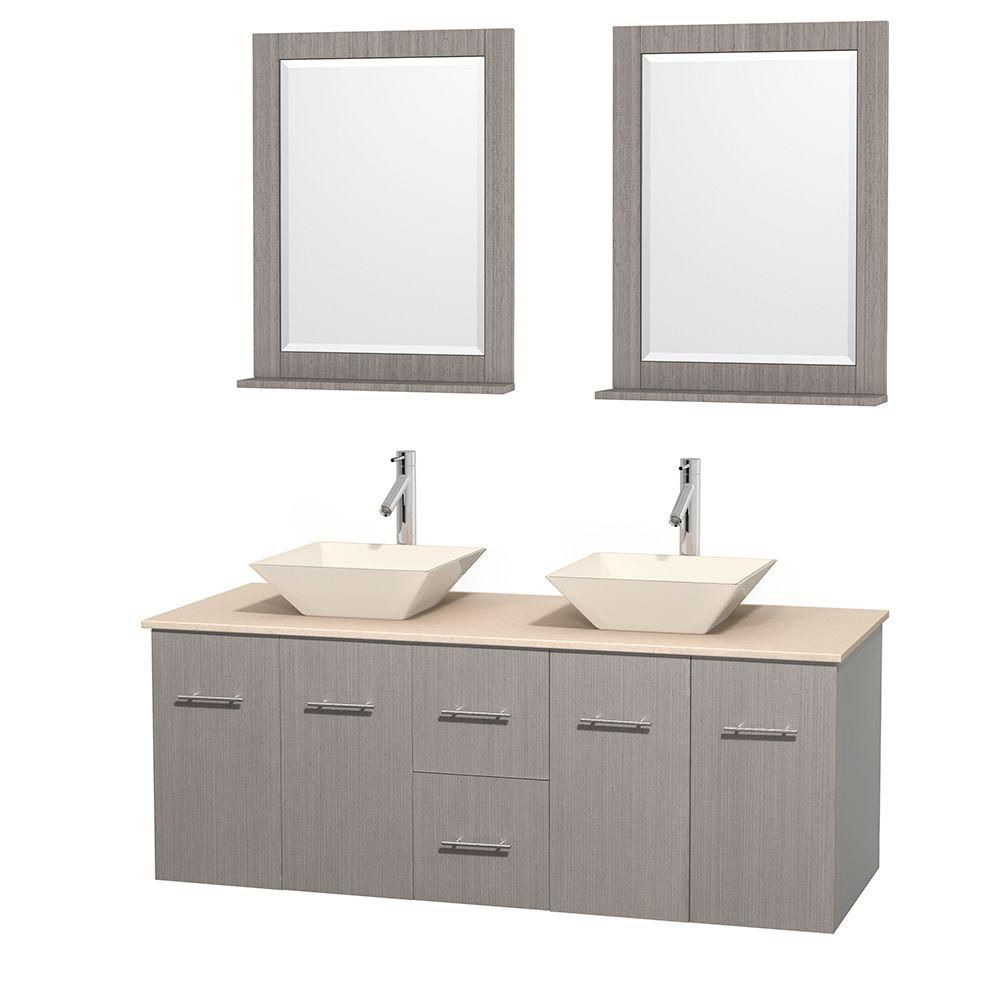 Centra 60-inch W Double Vanity in Grey Oak with Marble Top in Ivory with Bone Basins and Mirrors